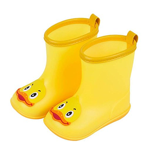 WUAI Toddler Baby Waterproof Rain Shoes Anti-Slip Rubber Boots Cartoon Duck Water Shoes Rain Boots 2-7Years(Yellow,6-6.5Years)