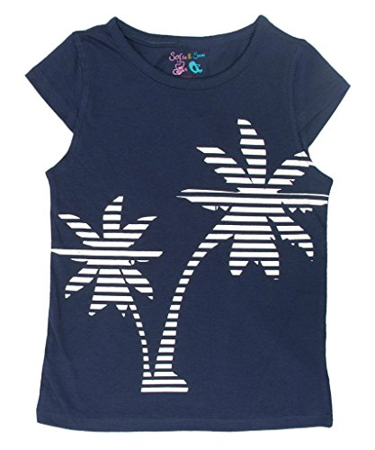 Sofie & Sam Cotton Kids Girls Tee T-Shirt Top - White Tree Navy (Life At The Top Shirt)