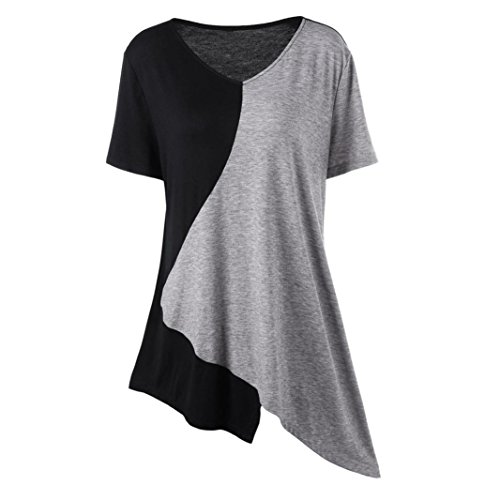 (SUKEQ Fashion Womens Patchwork V-Neck Flory Short Sleeve Pullover Tunic Loose T-Shirt Trim Asymmetrical Top (XX-Large, Black))