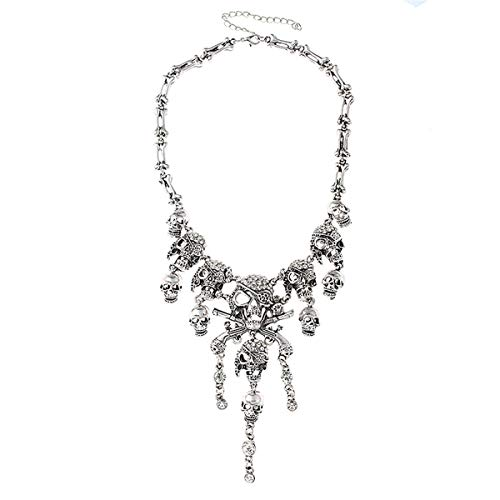 Fashion Multi-level Pirate Skull Tassel Charm Necklace Collar Bib for Women]()