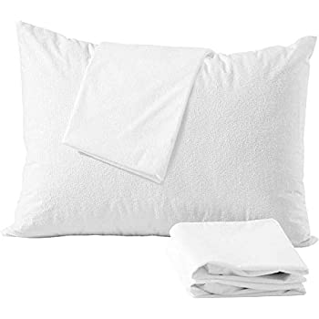 Niagara Sleep Solution 4 Pack Cotton King Pillow Protectors 100% Waterproof Life Time Replacement Zippered Cotton White Terry Pillow Encasement Washable Long Life Soft Breathable Fabric Set