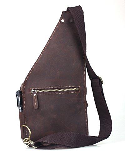 Tiding Men's Brown Crazy Horse Leather Travel Backpacks Shoulder Bags Satchel 80515