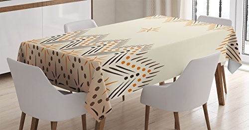 (Ambesonne Geometric Decor Tablecloth by, Vintage Primitive Aztec Native American Motif with Folk Art Effect Print, Dining Room Kitchen Rectangular Table Cover, 52W X 70L Inches, Peach Amber)