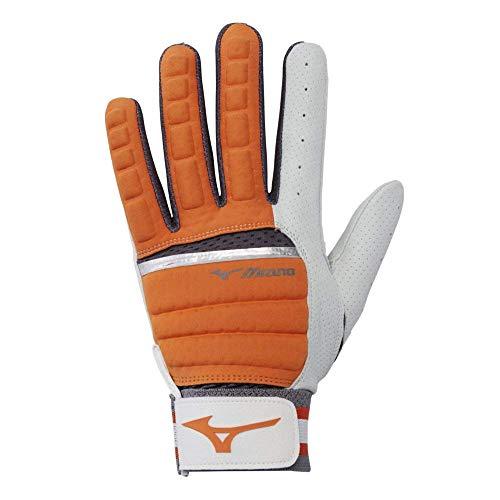 Mizuno B-130 Adult Baseball Batting Glove, Orange-Charcoal, Medium