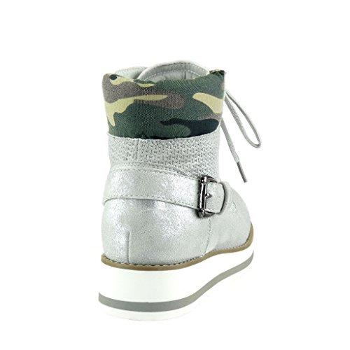 Stile 5 Talón Zapatillas Vendimia Camuflaje Hebilla Angkorly Mujer Plata Trenzado Plataforma 3 Moda Deportivos Altas Cm XxaOqR