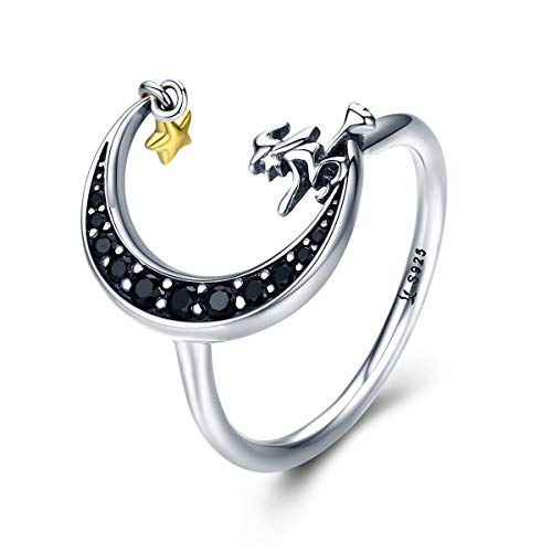 Everbling Flying Witch in Moon Star 925 Sterling Silver Ring, Size 7 ()