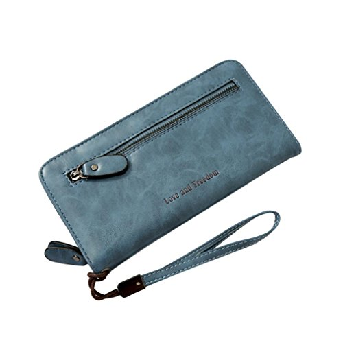 Clearance! Women Wallet, Neartime Simple Letters Long Wallet Coin Purse Card Holders Zipper & Hasp Handbag (❤️20cm(L)×3cm(W)×10cm(H), Light Blue)