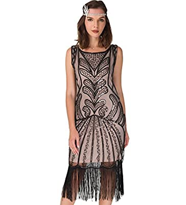 Women's 1920s Flapper Dress - Fringe Beaded Vintage Great Gatsby Party Dress