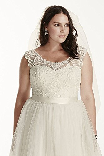 Tulle Plus Size Wedding Dress With Lace Cap Sleeve Style 9wg3741