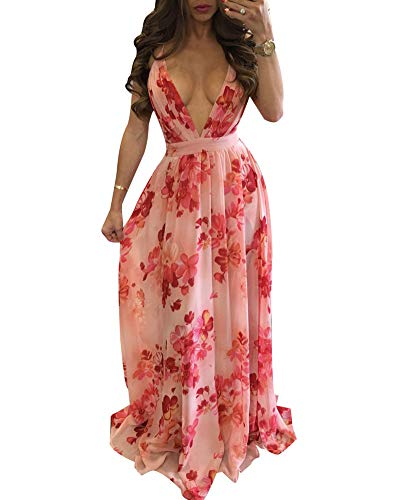 (Women's Floral Long Maxi Dresses - V Neck Backless Strap Boho Summer Beach Party Dresses Pink)