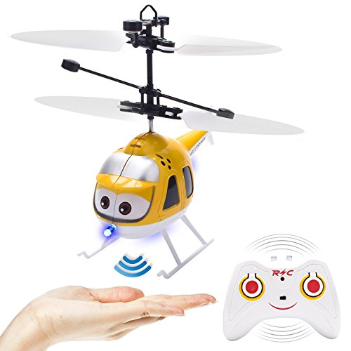GearRoot Flying Ball Remote Control Helicopter Toy Plane Flying Toys Induction Hover RC Helicopter with Remote Control, Coloful Shining LED for Kids Teenagers Adults Indoor Outdoor Games (Yellow)