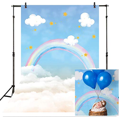 (Allenjoy 5x7ft Sky and Rainbow Watercolor Cloud Backdrop Portrait for Infant Newborn Children Kids Boys Girls Baby Shower Cake Smash Birthday Party Decoration Photoshoot Studio Props)