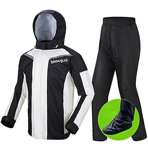 Regenkombi Motorrad für Männer Frauen Waterproof Breathable Regenbekleidung mit reflektierenden Streifen, Schuhüberzug…