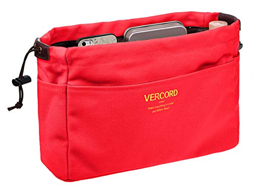 - Vercord Canvas Handbag Organizers, Sturdy Purse Insert Organizer Bag in Bag, 13 Pockets 4 Colors Red Small