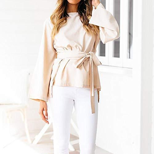 Ceinture Sexy Femme Blouse Chic Loose Shirt avec Taille Beige T Casual Chemisier Mode Manche Tops Grande Longue gZZq4wf