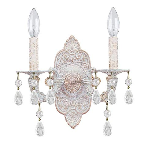 Crystorama 5022-AW-CL-MWP Crystal Accents Two Light Sconces from Sutton collection in Whitefinish, 5.50 inches (Collection Sutton)