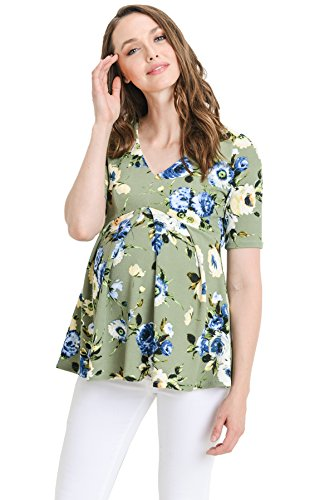 (Hello MIZ Women's Floral and Polka Dot Pleated Peplum V Neck Maternity Top (X-Large,)