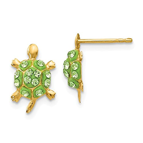 (14k Yellow Gold Green Crystal Turtle Post Stud Earrings Ball Button Animal Reptile Fine Jewelry Gifts For Women For Her)
