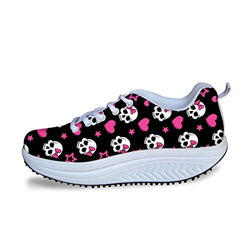 Skull3 Punk Shape Ups Fashion HUGSIDEA Skull Platform Print Shoes for Women wOv4v1Pq