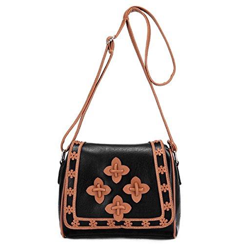 Mujeres Pequeñas Flores De Almohada Bolso De Hombro Messenger Bag Cruz Cuerpo Bolsa De Moda De Tendencia De Bolsos Black