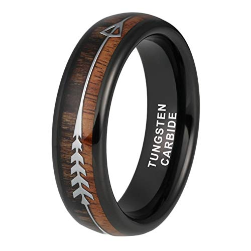 iTungsten 6mm Black Tungsten Rings Womens Mens Wedding Bands Koa Wood Arrow Inlay Hunting Outdoor Jewelry