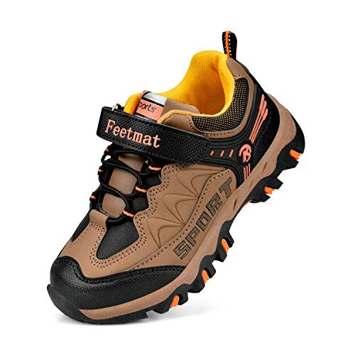 Brown Boys Sneakers - Feetmat Boys Running Shoes Outdoor Waterproof Hiking Shoes Kids Sneakers Brown Size 13 M Little Kid