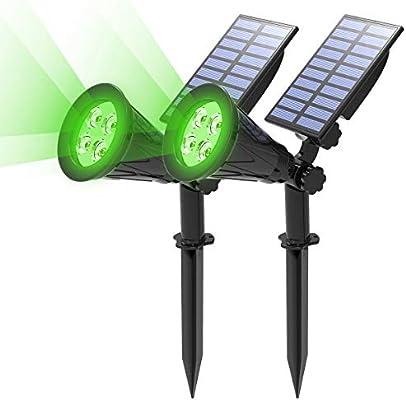 2 Unidades) T-SUN Foco Solar, Impermeable Luces Solares Exterior, 2 Modos de Iluminación Opcionales, ángulo de 180° Ajustable, Luz de Jardín para Entrada, Entrada, Camino. (Verde): Amazon.es: Hogar