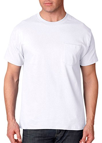 Hanes Short Sleeve Beefy Pocket T-Shirt - 5190,White,L
