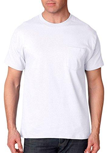 Hanes Short Sleeve Beefy Pocket T-Shirt - 5190,White,L