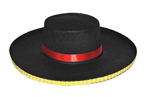 Gaucho Hat Bolero Gold Trim Red Band Mexican Mariachi Costume Accessory Adult (Adult Spanish Dancer Costume)