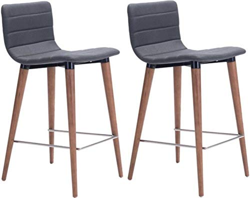 "Zuo Modern Jericho Counter Chair (Set of 2), Gray, Slim Seat/Back Design, Sturdy all Wood Legs in Warm Walnut Finish, Slim Chrome Footrest, Dimensions 16""W x 34.3""H x 18.9""L"