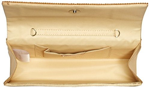 Berydale - Bolso de mano de satén con borde de estrás para mujer, clutch, bandolera con cadena adicional y cierre magnético Dorado (Gold)