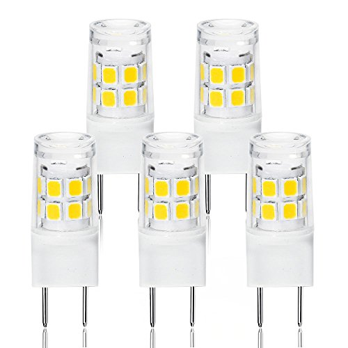 LED G8 Light Bulb, G8 GY8.6 Bi-pin Base LED, Not Dimmable T4 G8 Base Bi-pin Xenon JCD Type LED 120V 50W Halogen Replacement Bulb for Under Counter Kitchen Lighting (5-Pack) ()