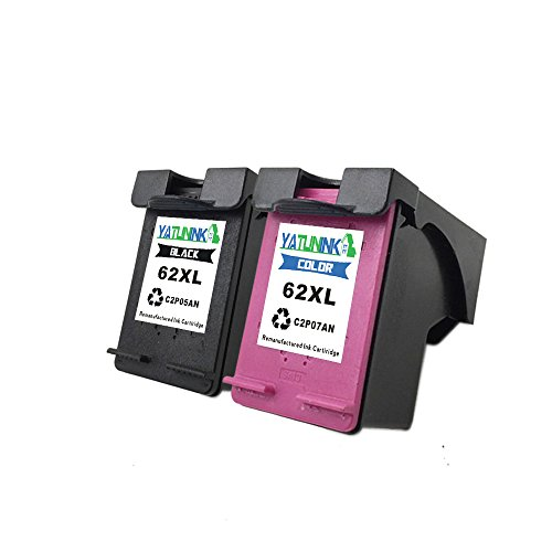 YATUNINK Compatible 62XL Black&Color Ink Cartridges ENVY 5640 5642 5643 5646 5660 7640 (Black Printhead Cleaning Cartridge)