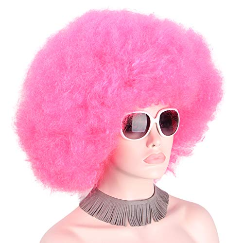 Anxin Afro Clown Wig Pink Red Party Halloween Costumes Festival Wigs for Women ()