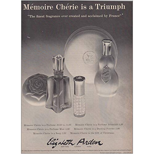(RelicPaper 1960 Elizabeth Arden Memoire Cherie: is a Triumph, Elizabeth Arden Print Ad)