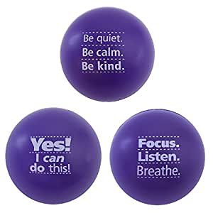 Motivational Stress Balls, 3 Pack, Teacher Peach Stress Relief Gifts (Purple)