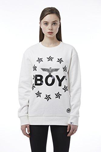 BOY London Unisex (S,M,L,XL) 18SS Boy With Circular Stars Sweatshirt - Black,White New_(BH1SS102) (White, XLarge) by BOY London