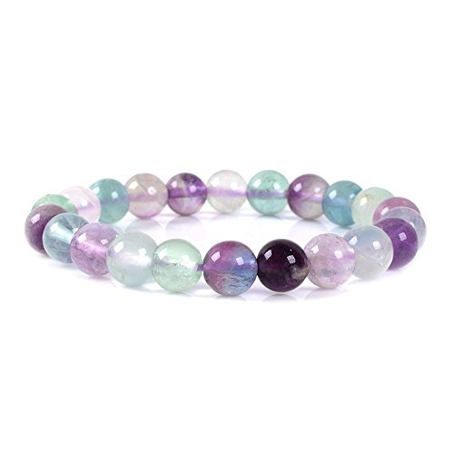 Natural Multicolor Fluorite Gemstone 8mm Round Beads Stretch Bracelet 7
