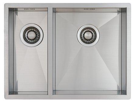 Lavello per cucina in acciaio inox inossidabile / lavandino MIZZO quadrato  18-34 a incasso / base - lavello quadrato in acciaio inox / lavabo 590x 444  ...
