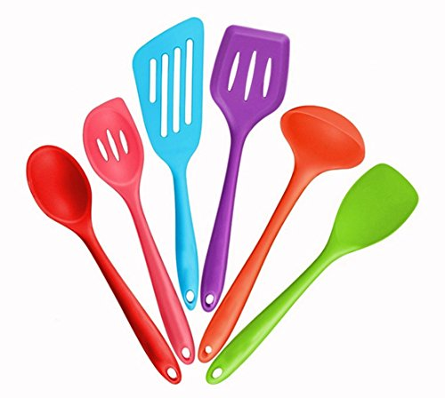 Zehui Silicone Kitchenware 6pcs Non-stick Kitchen Kitchenware Cooking Spoon Color (Jadeite Apparel)