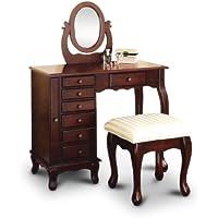 New Espresso Vanity Set Jewelry Armoire Dresser and Bench & Mirror