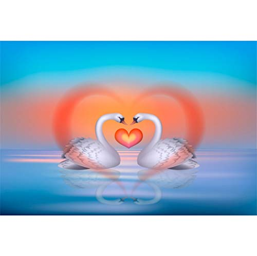 Valentine Passionate Hearts - Laeacco 10x7ft Vivid Couple of White Swans Vinyl Background Romantic Wedding Photo Backdrops Red Heart Still Lake Blue Sky Newlywed Portraits Passionate Love Sweet Valentine's Day Greeting Card