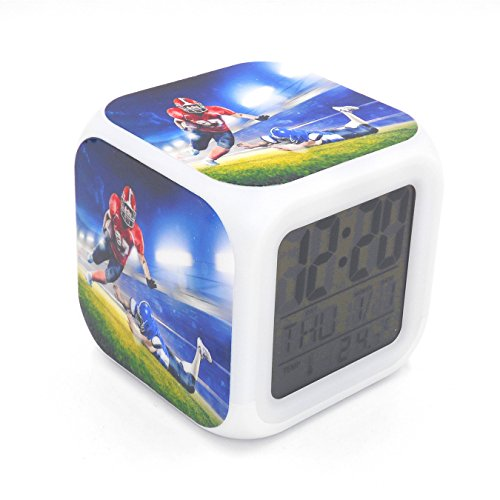 BoFy Led Alarm Clock American Football Tounchdown Sports Pattern Personality Creative Noiseless Multi-functional Electronic Desk Table Digital Alarm Clock for Unisex Adults Kids Toy Gift - Crystal Football Clock