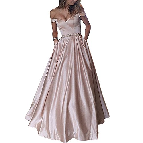 Lemai Plus Size Off Shoulder Beaded Satin V Neck Prom Dress Evening Gown Nude Pink US 18W