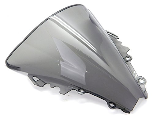 9sparts Black | Clear | Smoke Double Bubble ABS Plastic Injection Windscreen Windshield For 2006 2007 Yamaha YZF R6 (Smoke) (R6 Windscreen Clear)