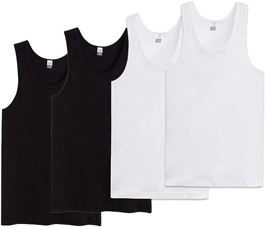 Camiseta sin Mangas Camisola, Chaleco para Hombre 100% Algodón Elástico Deportes De Primavera Y Verano Cuello Redondo Camisetas Sin Mangas 4 Pack (Color : White*2+Black*2, Tamaño : XL): Amazon.es: Hogar