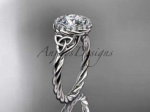 White Gold Bridal Band Celtic (14kt white gold rope moissanite Celtic Bridal ring RPCT997)