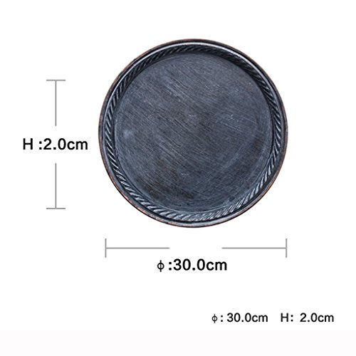 He Xiang Ya Shop Iron Flat Plate Home Breakfast Large Tray Fruit Cake Tray Water Cup Tray Black Dinner Plate 12 inches by He Xiang Ya Shop (Image #5)