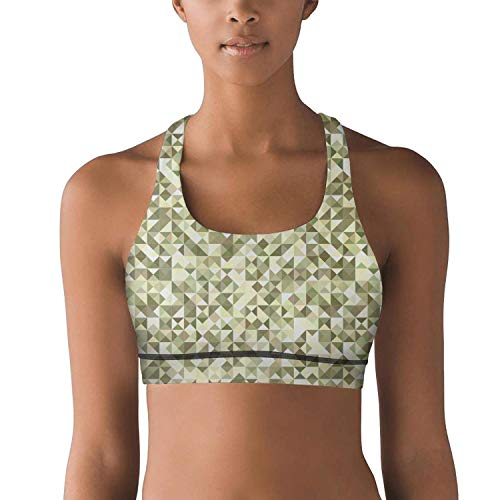 (Gustaix Zimund Women's Racerback Sport Bra Military Diamond camo Bra for Yoga Gym Running Fitness)